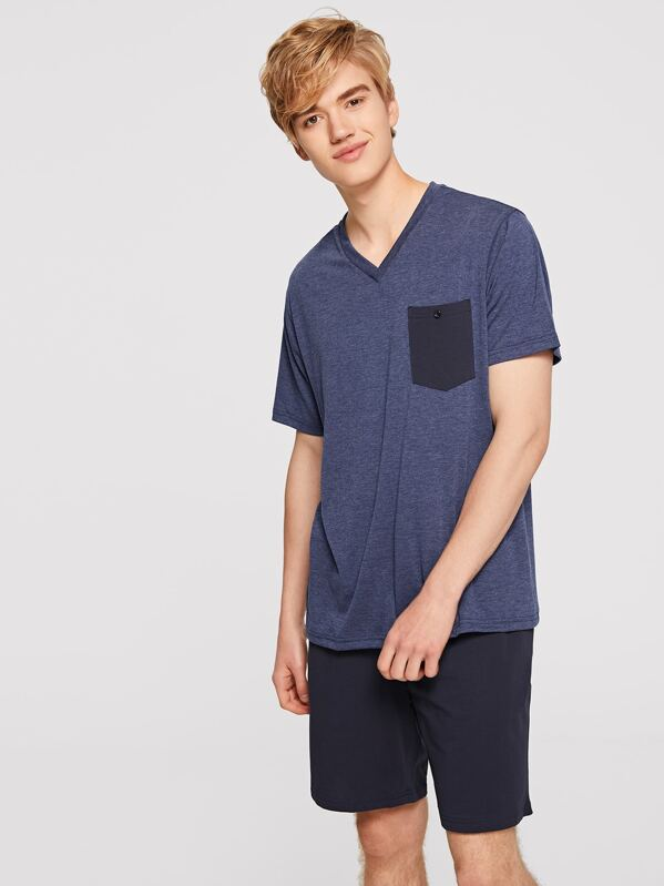 Men Buttoned Pocket Heather Knit Tee & Shorts PJ Set, Alex