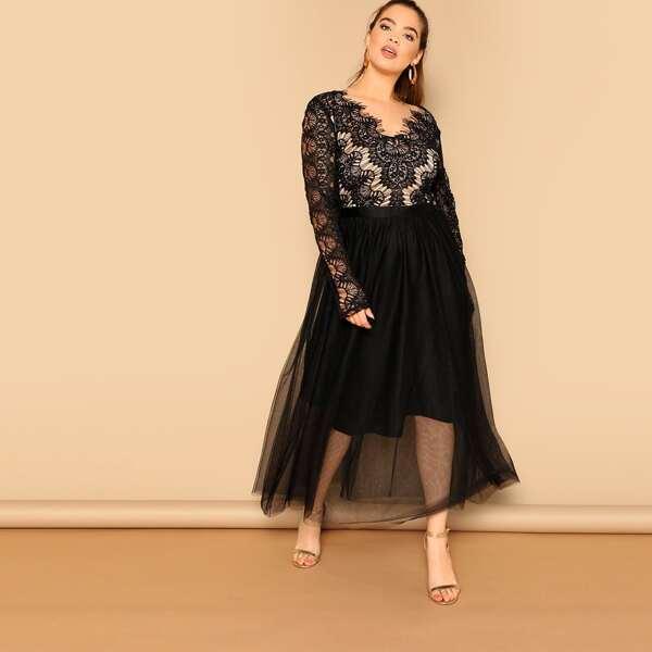 Plus Lace Bodice Mesh Hem Dress, Black
