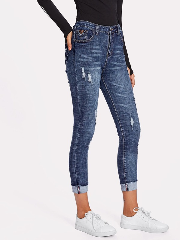 Ripped Cuffed Ankle Jeggings, Camila