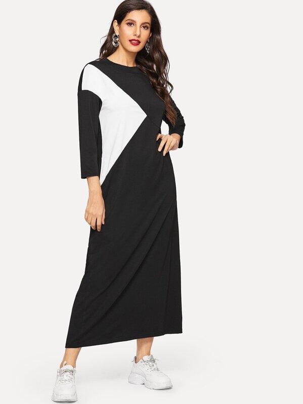 Color Block Hidden Pocket Longline Dress