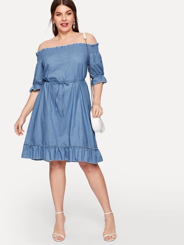 Plus Off The Shoulder Ruffle Hem Denim Dress, Isabela