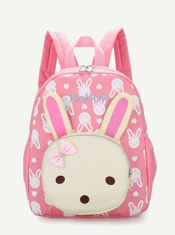 Kids Rabbit Design Pocket Front Backpack