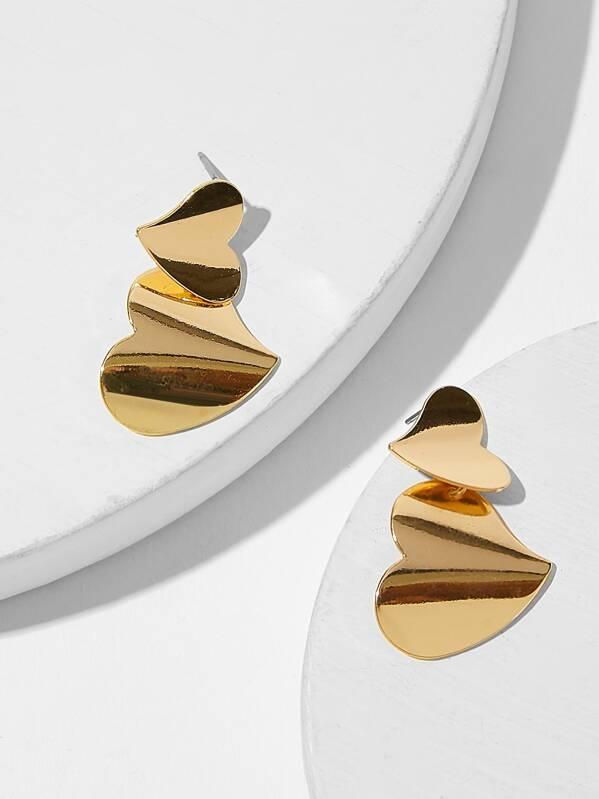 Double Heart Shaped Drop Earrings 1pair