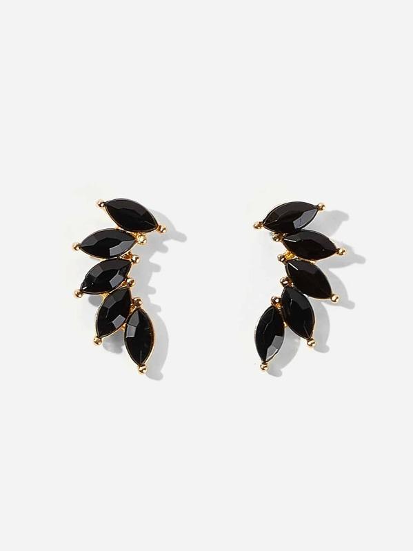 Rhinestone Leaf Stud Earrings 1pair