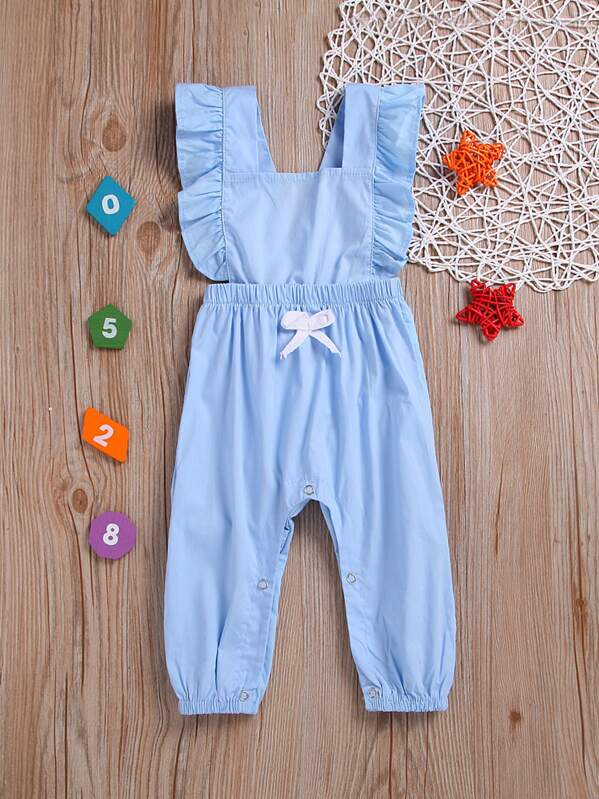 Toddler Girls Bow Front Frill Trim Jumpsuit