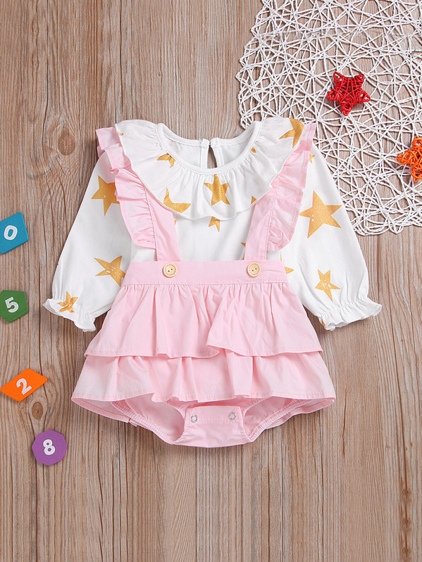 Toddler Girls Star Print Tee With Frill Straps Shorts