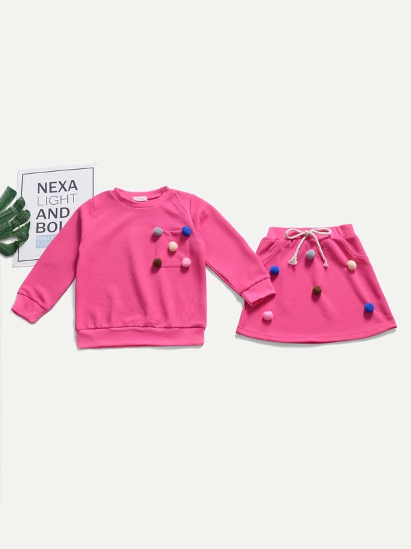 Toddler Girls Pom Pom Detail Sweatshirt With Skirt
