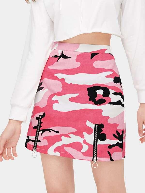 Camouflage Print Zip Detail Skirt, Anna.B