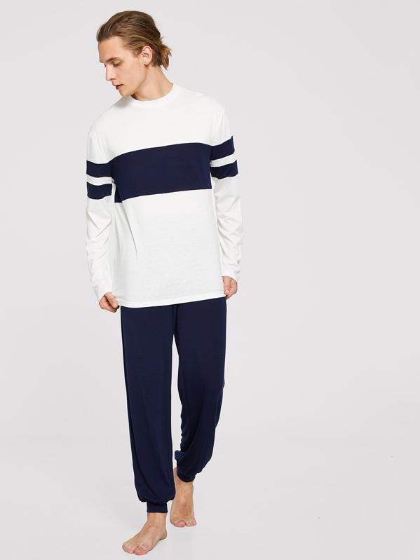 Men Contrast Stripe Pajama Set
