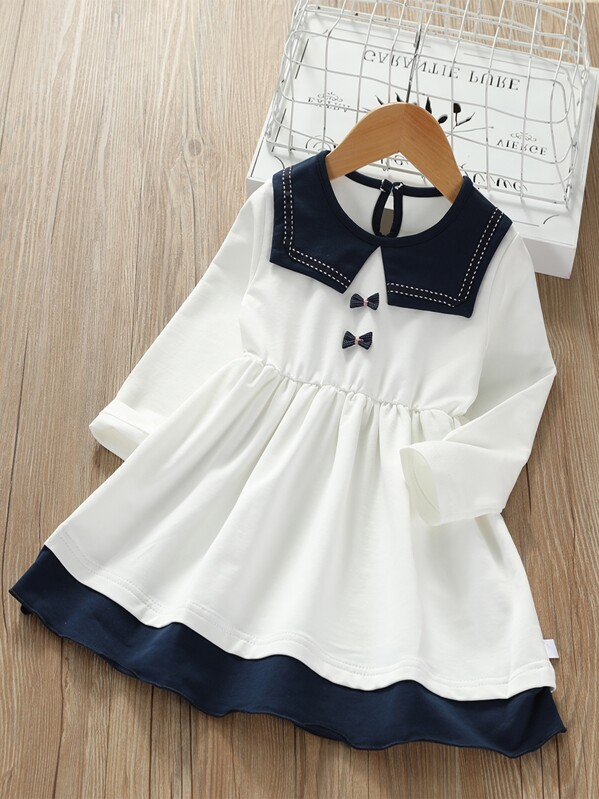 Toddler Girls Contrast Trim Bow Detail Babydoll Dress