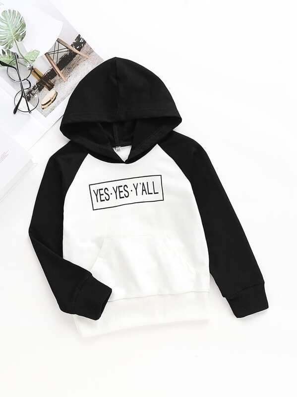 Toddler Girls Contrast Panel Letter Print Hoodie