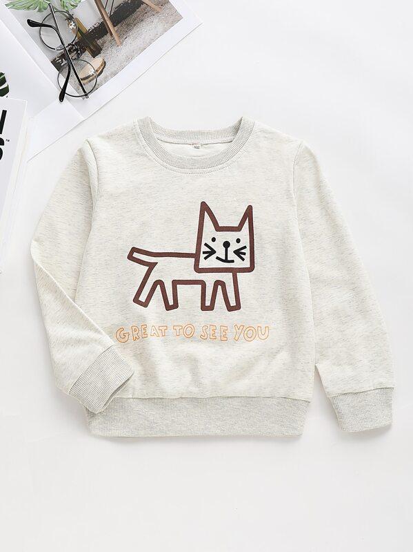 Toddler Girls Letter And Cartoon Print Sweatshirt