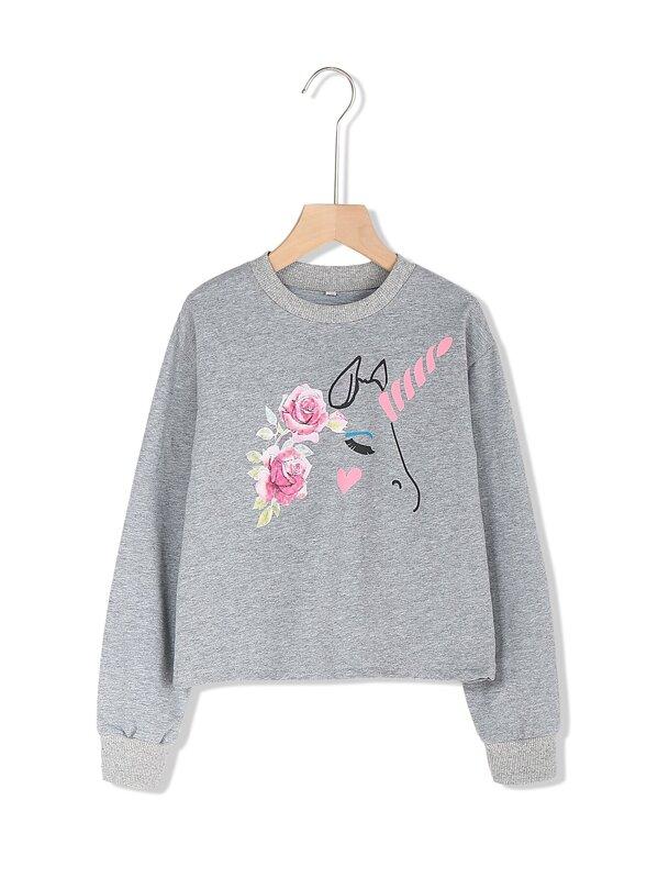 Toddler Girls Cartoon Print Sweatshirt