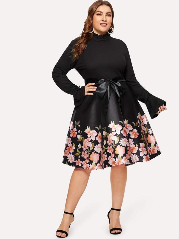 Plus Floral Print Self-tie Dress, Black, Franziska