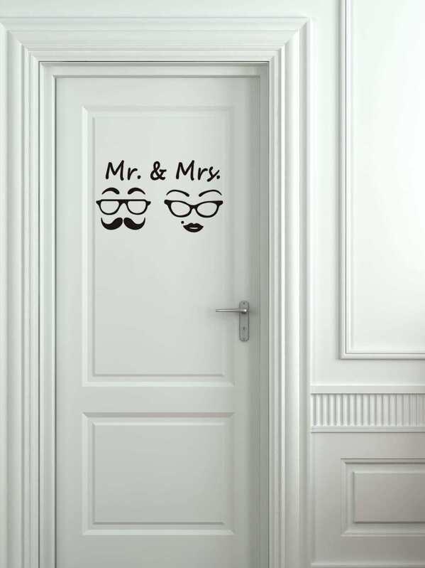 Mr & Mrs Door Sticker
