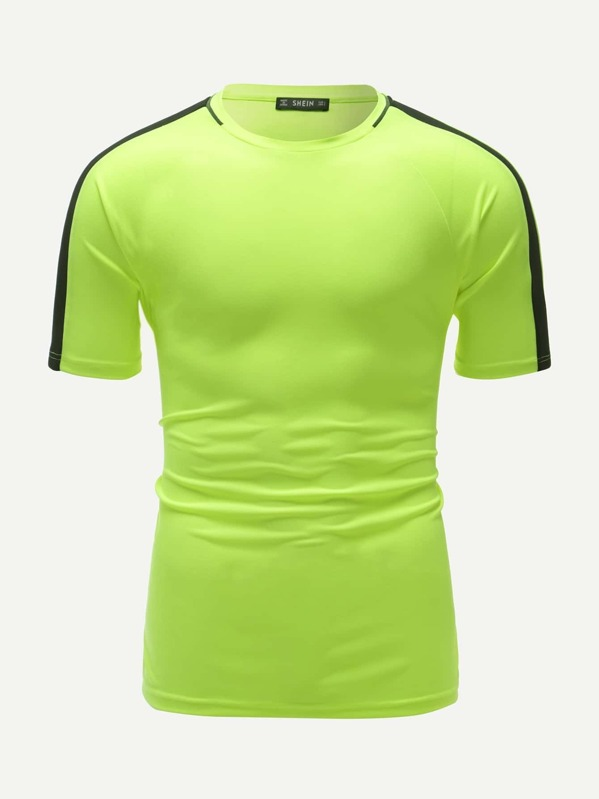 Men Neon Lime Raglan Sleeve Two Tone Tee