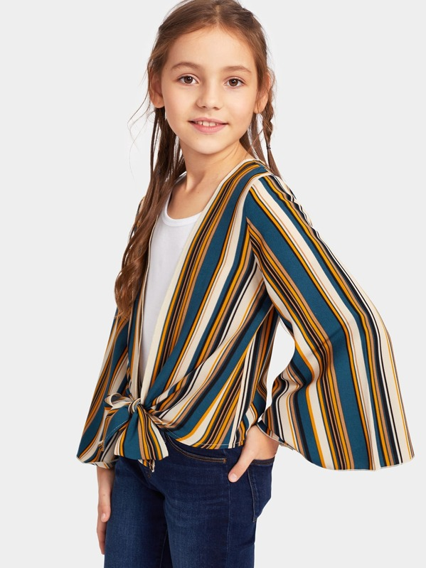 Girls Colorblock Knot Hem Bell Sleeve Striped Kimono, Alice A