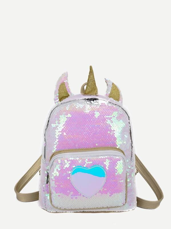 Kids Sequins Decor Pocket Front Backpack