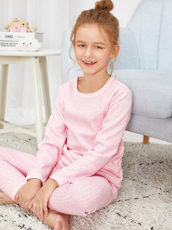 Girls Ribbed Pajama Set
