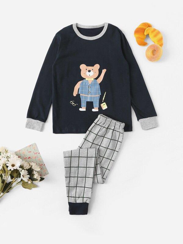 Boys Bear Print Top & Plaid Pants PJ Set