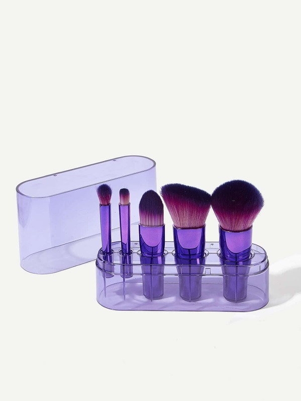 Makeup Brush 5pack With Transparent Brush Holder
