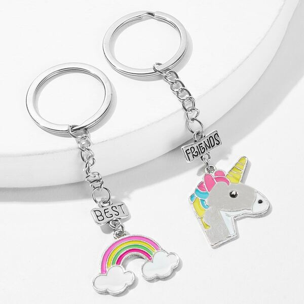Cartoon Animal & Rainbow Metal Charm Keychain 2pack