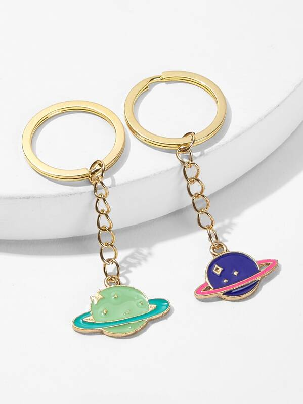 Planet Metal Charm Keychain 2pack