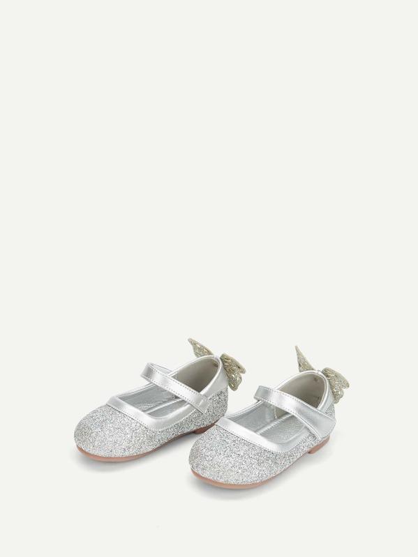 Baby Glitter Bow Tie & Pearl Decor Flats