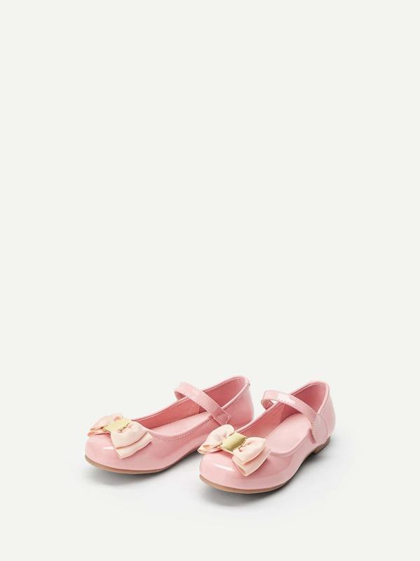 Toddler Girl Bow Tie Decor Flats