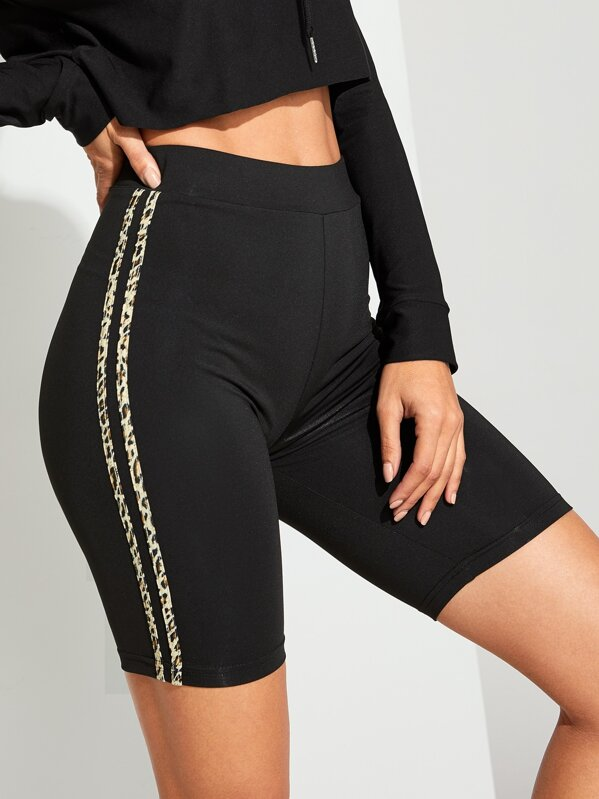 Contrast Leopard Print Tape Side Cycling Shorts