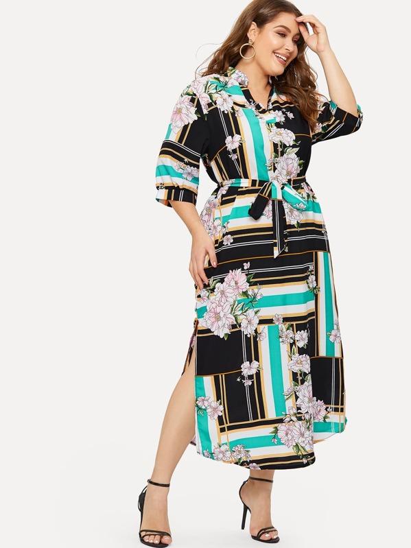Plus Floral Print Striped Split Side Dress