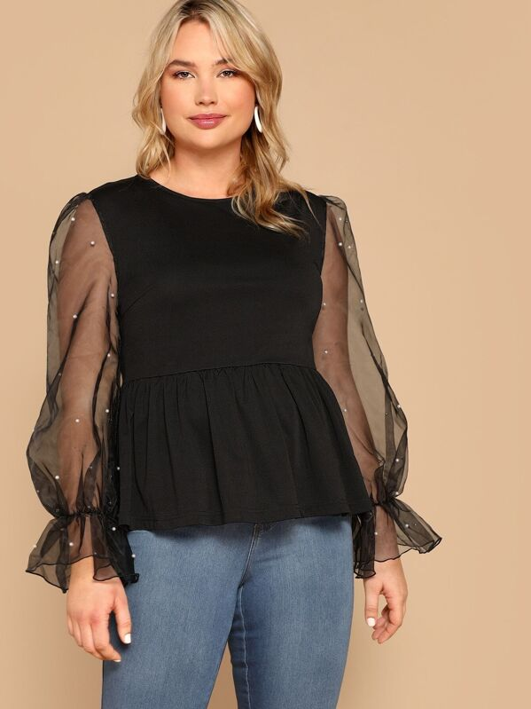 Plus Pearls Beaded Mesh Bell Sleeve Peplum Top