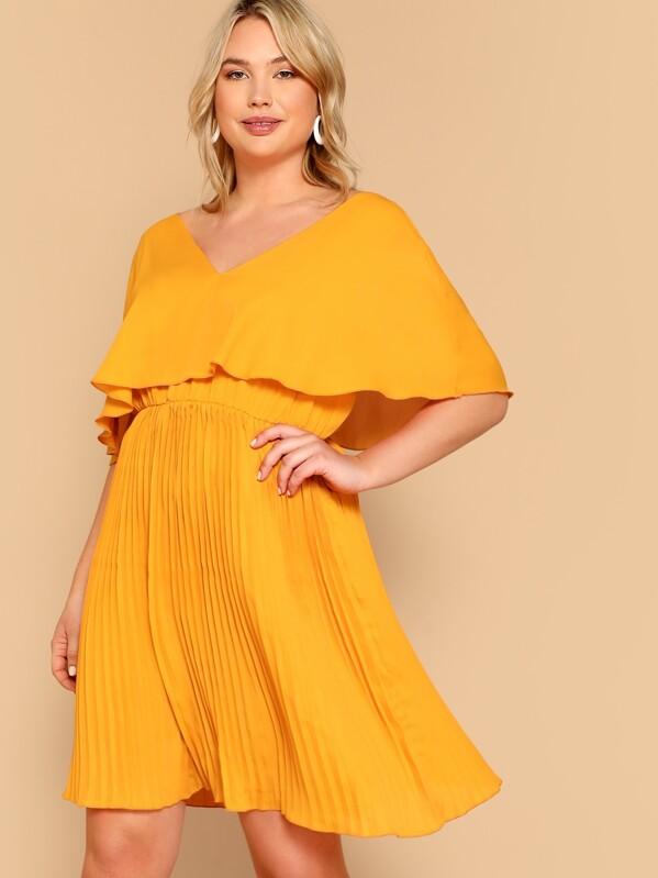 Plus Ruffle Detail V-neck Solid Dress