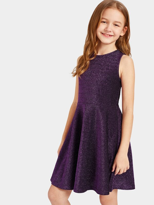 Girls Zipper Back Glitter Fit & Flare Dress, Sashab