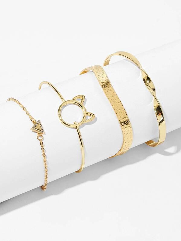 Triangle & Spiral Detail Bracelet 4pcs