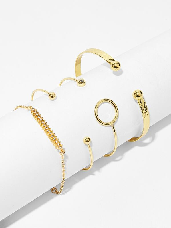 Bar & Circle Detail Bracelet 4pcs