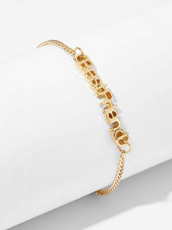 Letter Decor Chain Bracelet 1pc