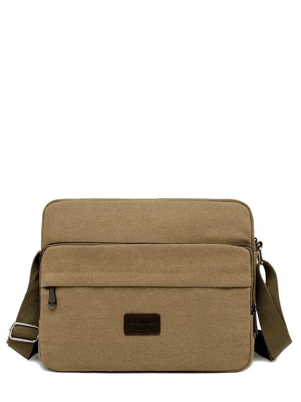 Men PU Patch Decor Canvas Crossbody Bag