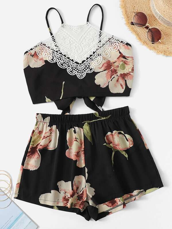 Lace Panel Floral Print Knot Back Cami Top With Shorts, null
