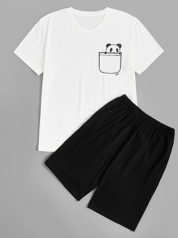 Men Panda Print Top & Shorts PJ Set