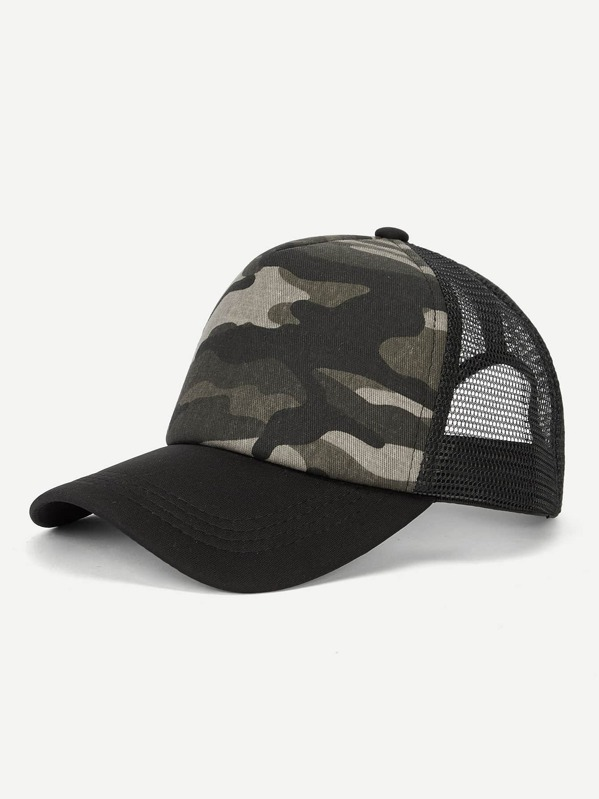 Men Contrast Mesh Camouflage Baseball Cap