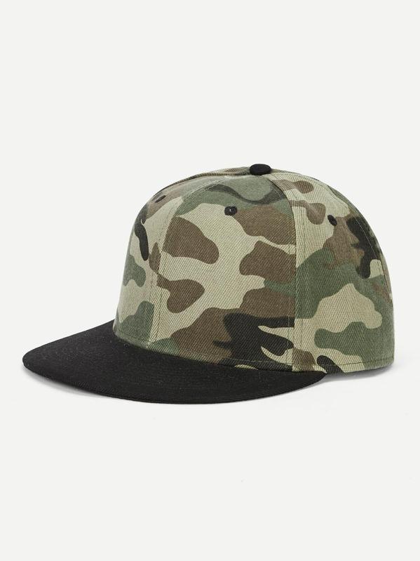 Men Camouflage Flat Brim Cap