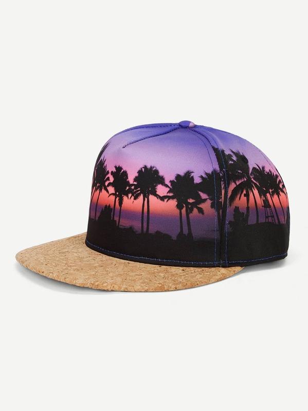 Men Coconut Palm Flat Brim Cap
