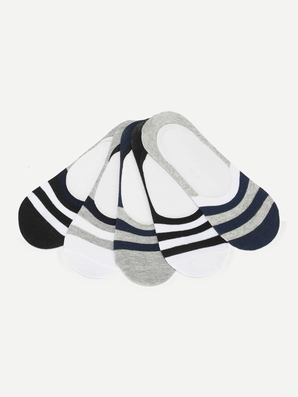 Men Striped Invisible Socks 5pairs