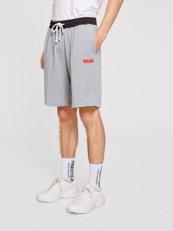 Men Drawstring Contrast Waist Heather Knit Sweat Shorts