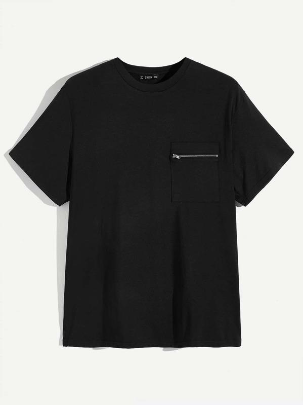 Men Zipper Pocket Front Pullover Tee