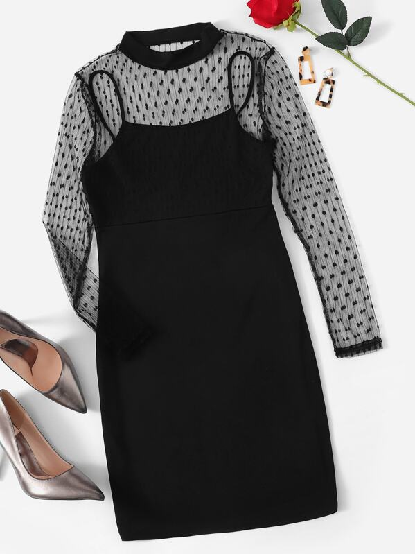 Dot Mesh Shoulder 2 in 1 Dress