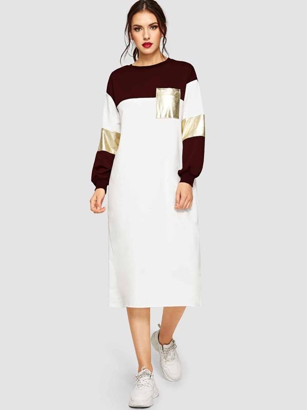 Pocket Patched Metallic Panel Colorblock Dress