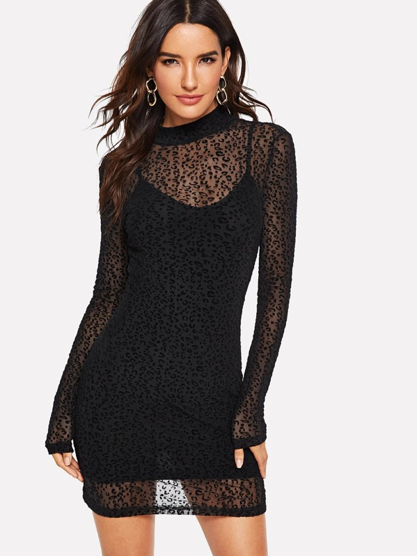 Leopard Mesh Overlay 2 In 1 Dress