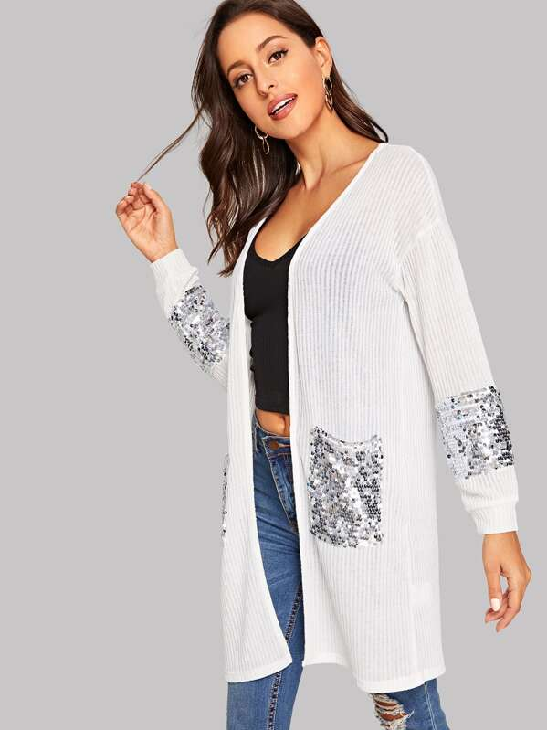 Open Front Sequin Detail Ribbed Duster Coat, Mary P.
